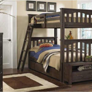 kenwood Twin over Twin Bunk Bed with Trundle in Espresso