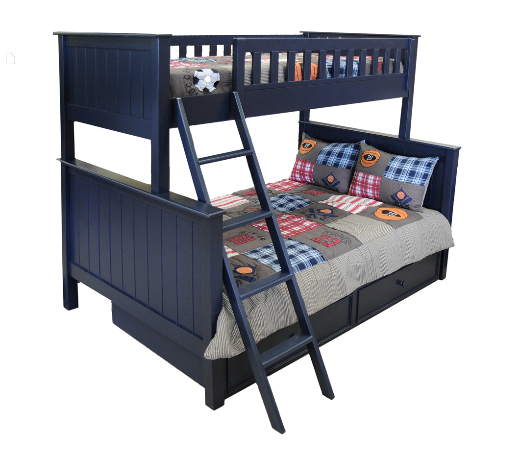 Campground collection twin over full bunk bed with captain drawers in navy blue kids furniture - Bunkbeds with drawers ...