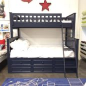 campground twin over full bunk bed with captain drawers in navy blue
