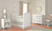 haven traditional crib in white linen