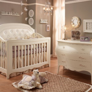 natart juvenile allegra convertible crib with upholstered panel in french white