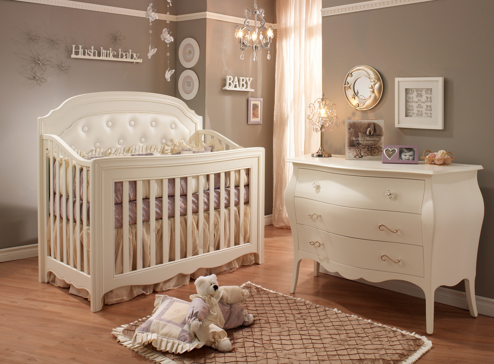 Charmant Natart Juvenile Allegra Convertible Crib With Upholstered Panel In French  White