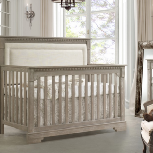 natart juvenile ithaca convertible crib in white with upholstered panel