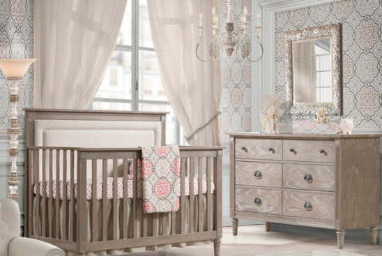 nest juvenile provence convertible crib with upholstered panel