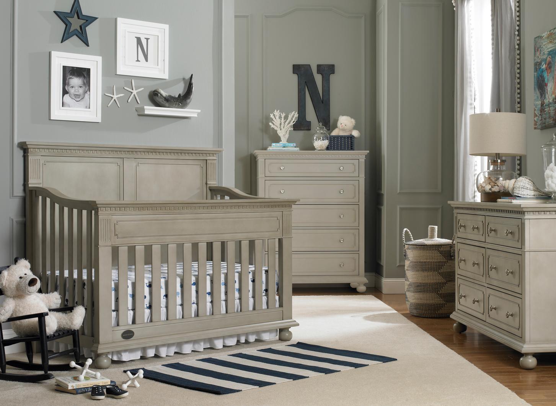 Dolce babi naples full panel crib in grey satin kids for Caravane chambre 19 shopping