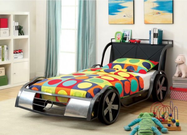 GT Racer Twin Size Bed in Silver and Gun Metal