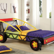 Racer Twin Size Bed in Red and Yellow 1
