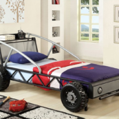 Racer Twin Size Bed in Silver and Black