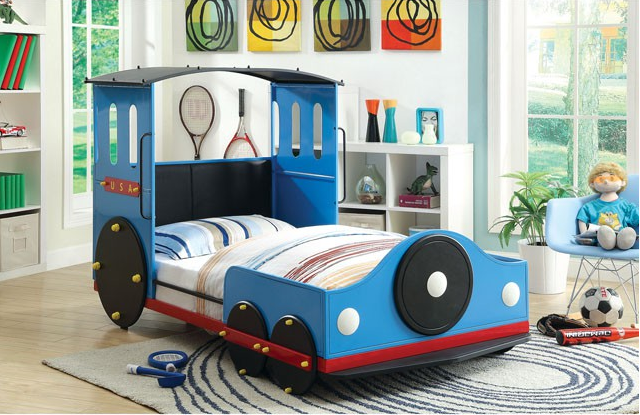 Retro Express Twin Size Train Bed In Blue Red And Black