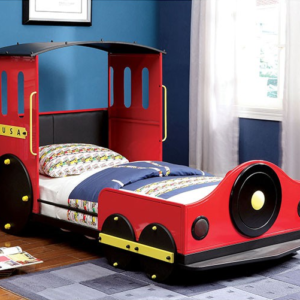 Retro Express Twin Size Train Bed in Red, Yellow and Black