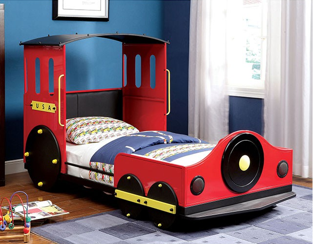 Retro Express Twin Size Train Bed In Red Yellow And Black