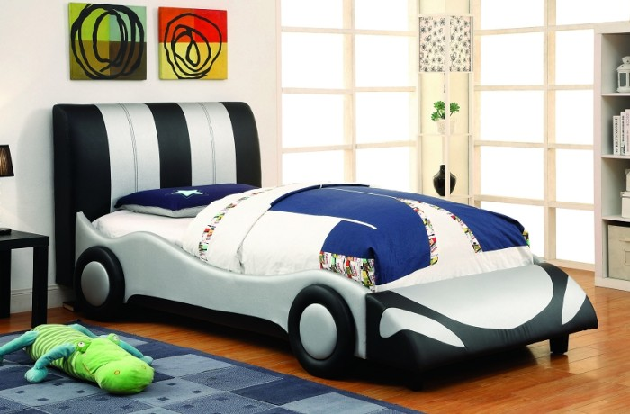 Super Racer Bed In Silver And Black Kids Furniture In