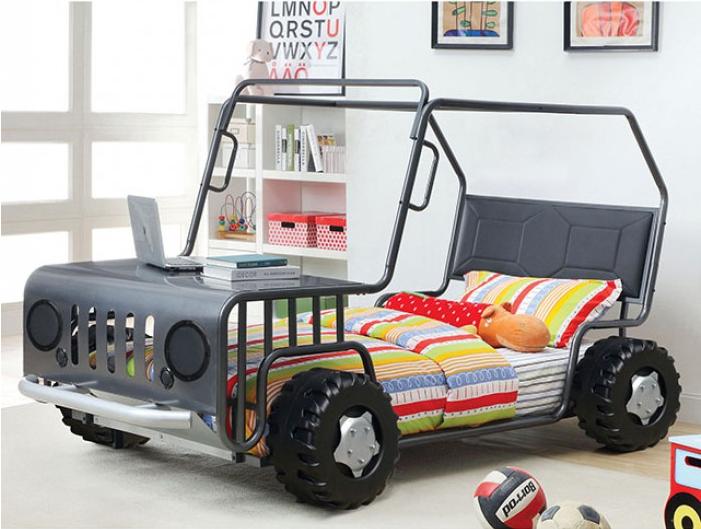 Trekker Twin Size Car Bed In Gun Metal Finish Kids