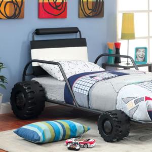 Turbo Racer Twin Size Bed in Gun Metal Detail