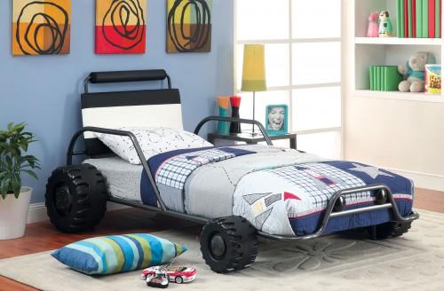 Turbo Racer Twin Size Bed in Gun Metal