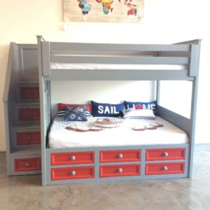 winchester full over full stair bunk bed with captain drawers