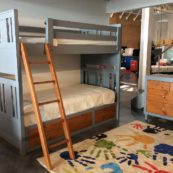 deluxe design Milan Twin over Twin bunk bed with drawers