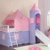 460279 metal princess castle loft bed