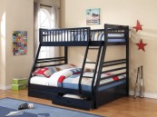 460181 twin over full bunk bed with drawers in navy blue