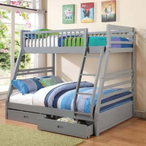 460182 twin over full bunk bed with drawers in grey