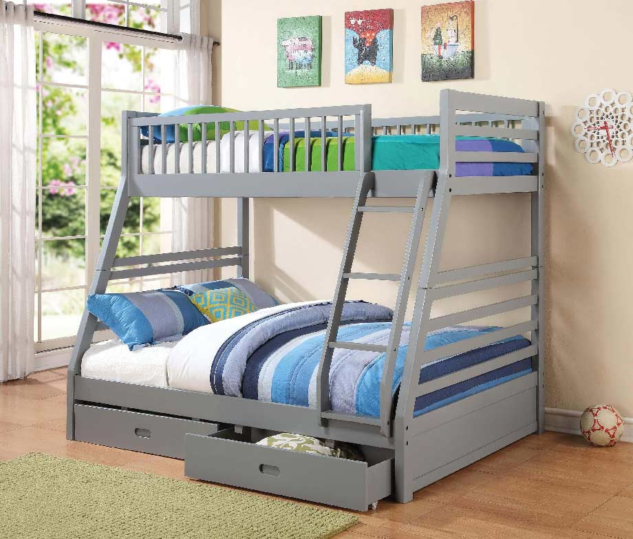 Nash Twin Over Full Bunk Bed W Drawers In Gray Kids