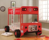 Jackson Twin over Twin Bunk Bed in Red and Black