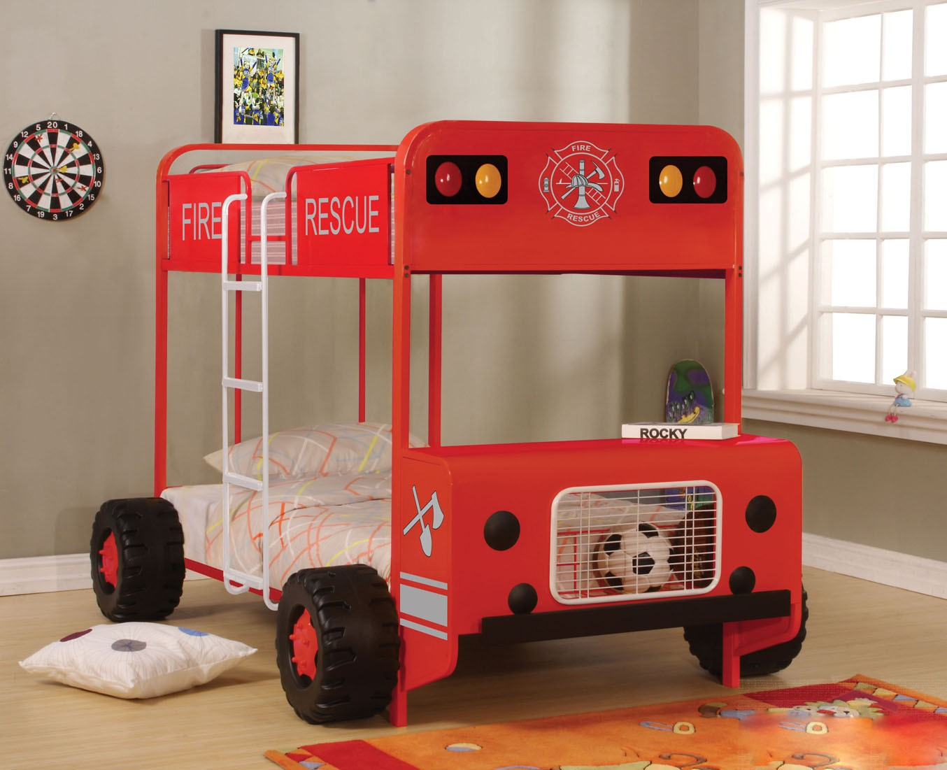 Jackson Twin Over Twin Bunk Bed In Red And Black Finish Kids Furniture In Los Angeles