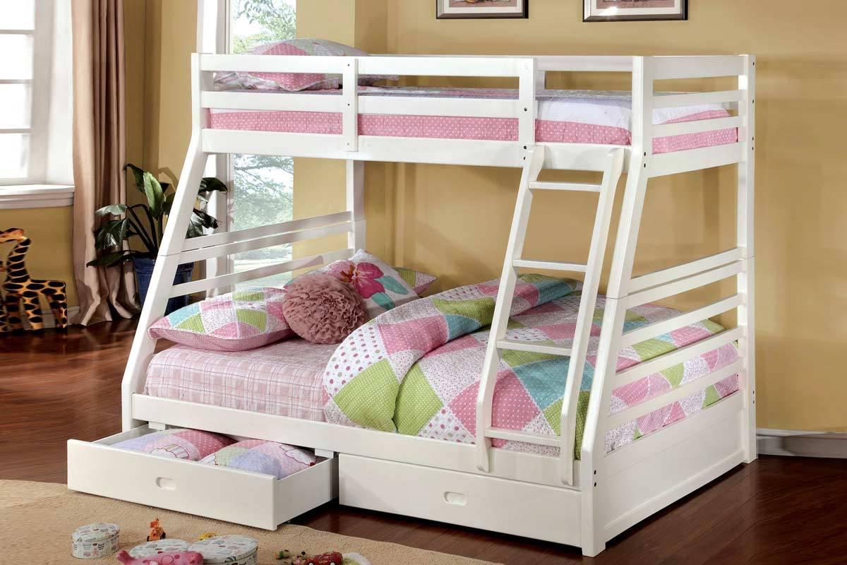 Moonlight Twin Over Full Bunk Bed Gray White Oak