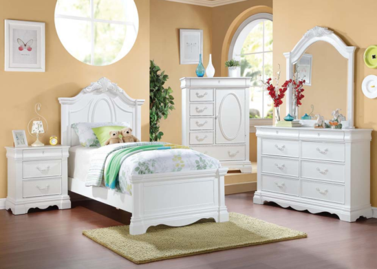 30240T_KIT twin bed in white finish