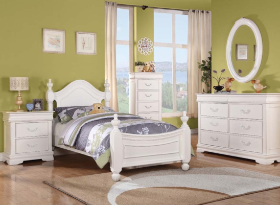 30125T Twin bed in white finish