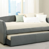 CM1956 leatherette daybed with trundle in grey