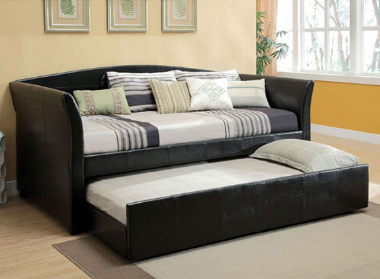 CM1956 leatherette daybed with trundle in black