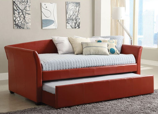 CM1956 leatherette daybed with trundle in red
