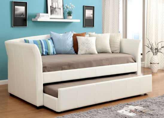 CM1956 leatherette daybed with trundle in white