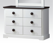30226 double dresser in white and chocolate