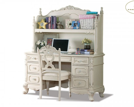 1386 desk and hutch in cream