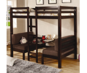 460263 twin convertible loft bed with cushions in espresso