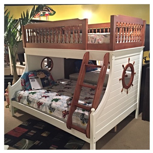 Harrah Twin Over Full Bunk Bed In Oak And White Kids