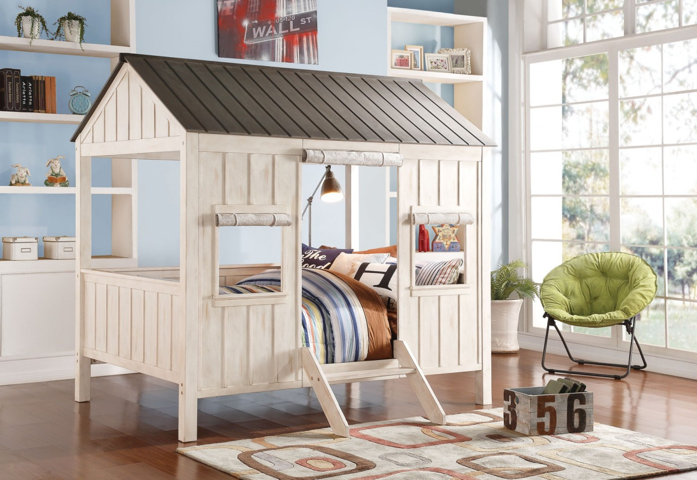 Cabin Bed In Weathered White And Washed Gray Finish Kids