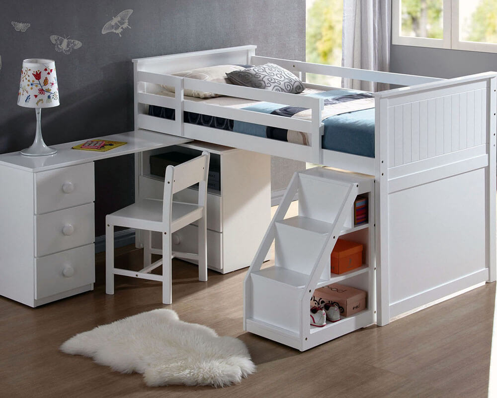 Wyoming Twin Loft Bed With Swivel Desk, Ladder And Chest In White