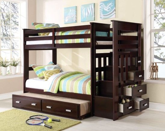 georgetown twin over twin bunk bed with stairs and drawrs
