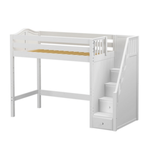 maxtrix basic high loft with stairs in white