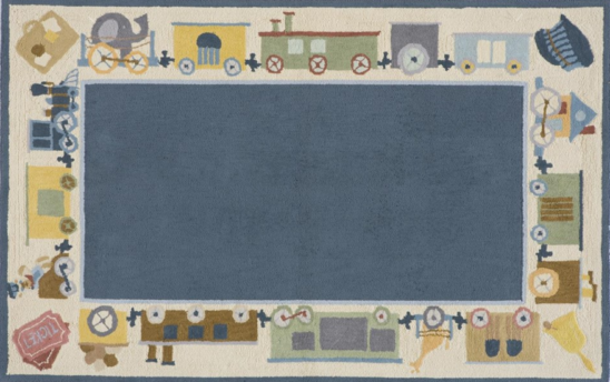 choo choo train blue kids rug