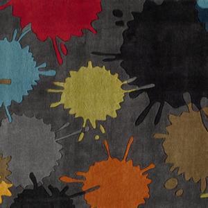 paint ball grey kids rug