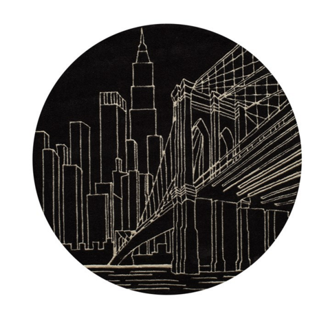 brooklyn bridge black kids rug