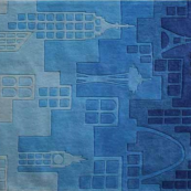 urban landscape blue kids rug