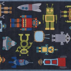 ROBOTS STEEL BLUE KIDS RUG