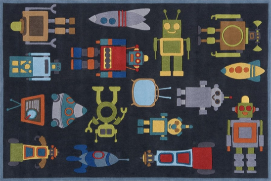 ROBOTS STEEL BLUE KIDS RUG