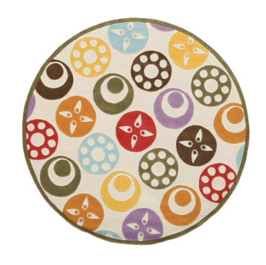 candy dots ivory round kids rug