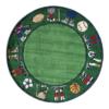 grass sports round kids rug